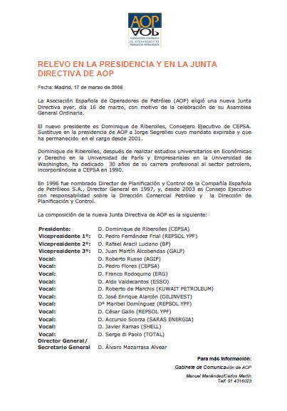 Relevos en la Presidencia y en la Junta Directiva de AOP