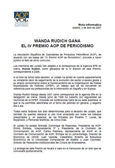 Wanda Runich obtiene el IV Premio AOP de Periodismo