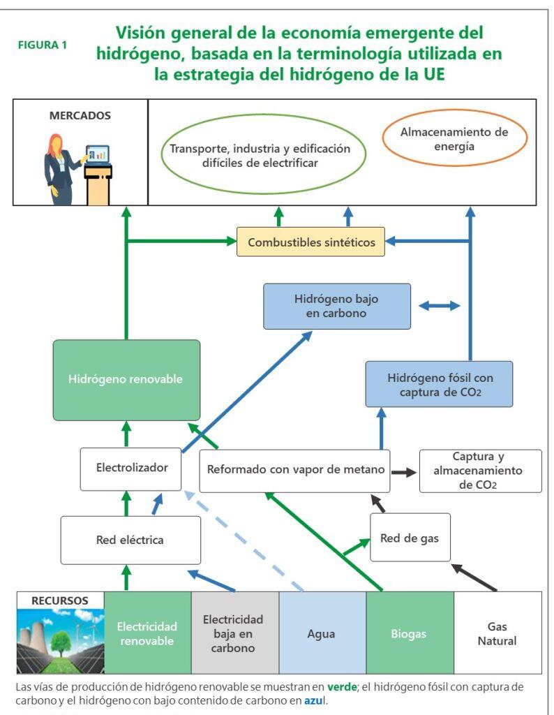 Visión general de la economía emergente del hidrógeno, basada en la terminología utilizada en la estrategia del hidrógeno de la UE
